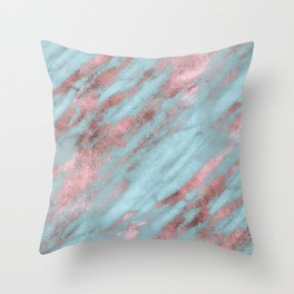 Rose Gold Veins on Faux Aqua Marble Throw Pillow