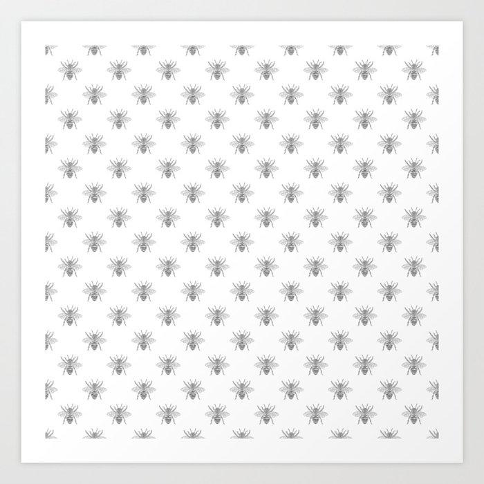 Vintage Honey Bees In Grey On White Art Print By Podartist Society6