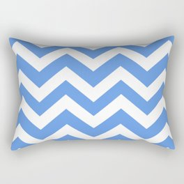 United Nations blue - blue color - Zigzag Chevron Pattern Rectangular Pillow