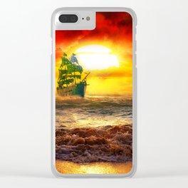 Black Pearl Pirate Ship Clear iPhone Case