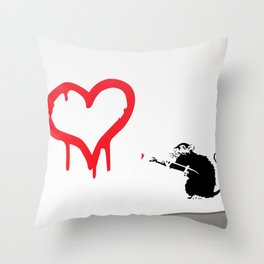 Banksy Rat Love Black&White Red Heart Throw Pillow