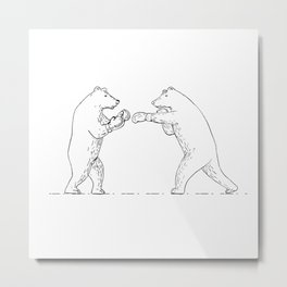 Two Grizzly Bear Boxers Boxing Drawing Metal Print