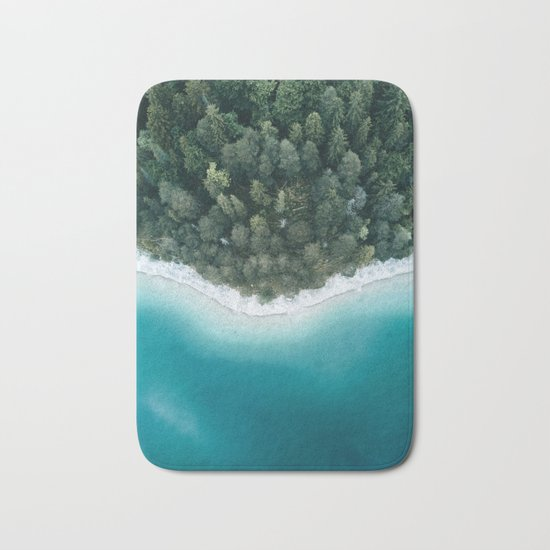 Green and Blue Symmetry - Landscape Photography Bath Mat