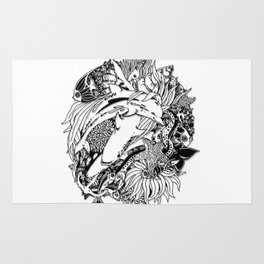 Sea Animals Surreal Doodle Art Rug