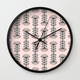 Retro Pink Floral Pattern-Mix and Match with Simplicity of Life Wall Clock