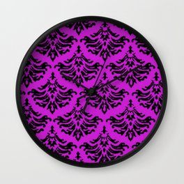 Vintage Damask Brocade Dazzling Violet Wall Clock