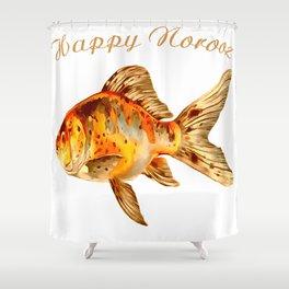 Elegant Happy Norooz Goldfish Persian New Year Shower Curtain