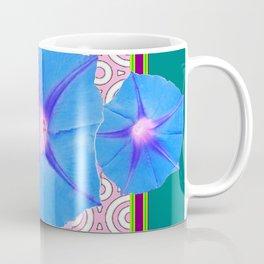 Blue Morning Glories & Shasta Daisies Teal Art Coffee Mug