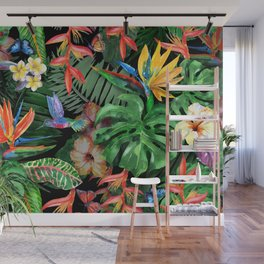 Tropical flowers watercolor pattern exotic leaves and plants. Realistic watercolor painting: butterfly, flying bird of paradise hummingbird, Strelitzia, palm, banana leaves, red hibiscus, plumeria Wall Mural