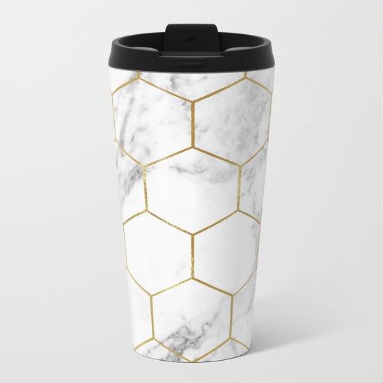 Gold marble hexagon pattern Metal Travel Mug