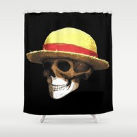 luffy Shower Curtains featuring Straw Hat Zombie by BradixArt