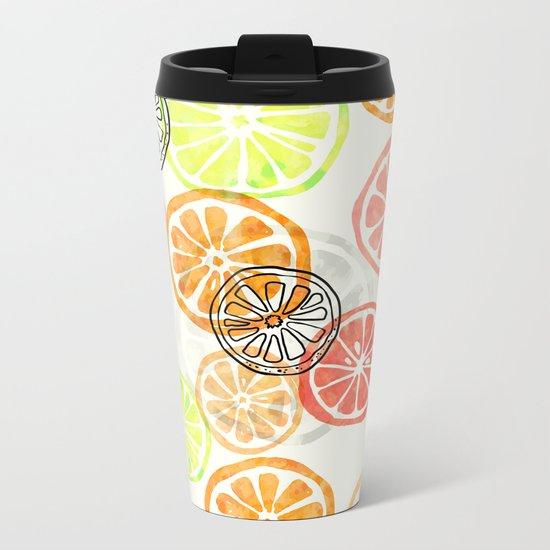 Lemon Slices Metal Travel Mug