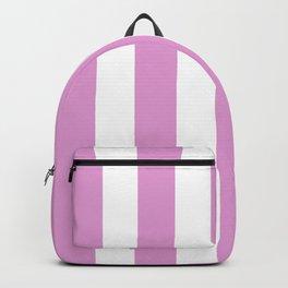 Orchid (Crayola) violet - solid color - white vertical lines pattern Backpack