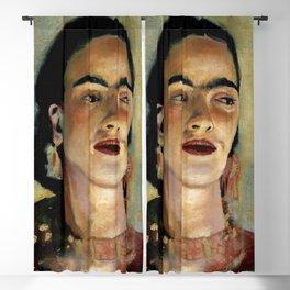 Portrait of Frida the Dove Blackout Curtain