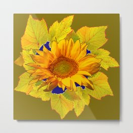 Decorative Leafy Green Yellow Sunflower Art Metal Print