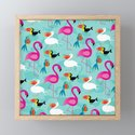 Flamingos and parrots tropical birds pattern by artonwear