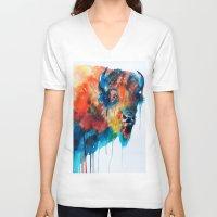 bison V-neck T-shirts featuring Bison by Slaveika Aladjova