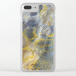 Faux gold snake skin texture on  marble Clear iPhone Case
