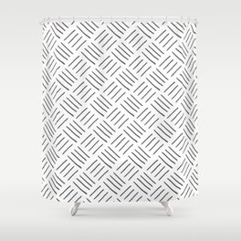 Gray and White Cross Hatch Design Pattern Shower Curtain