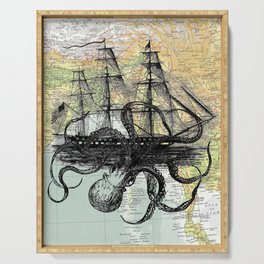 Octopus Attacks Ship on map background Serving Tray