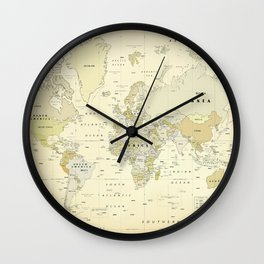 Vintage World Map Print Wall Clock
