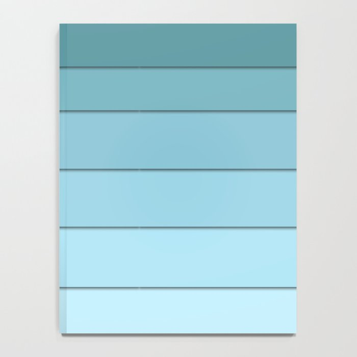 Colorful geometric striped pattern in shades of blue . Notebook