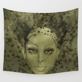Abstract  Female Face with  card suits Wall Tapestry