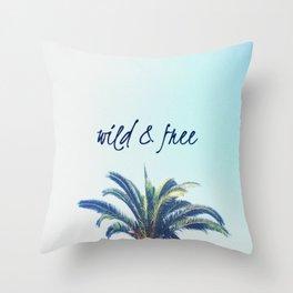 Palm Tree - wild & free Throw Pillow