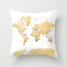 Gold world map with country capitals Throw Pillow