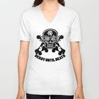 roller derby V-neck T-shirts featuring Roller Derby Until Death by Mean Streak