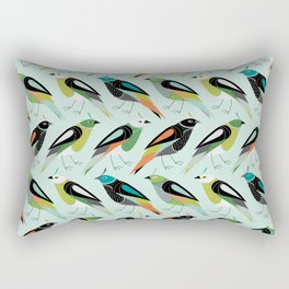 Little Birdies Repeat - Mint Multi Rectangular Pillow
