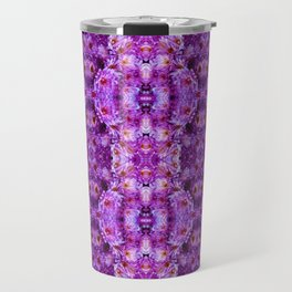 Violet Purple White Flower Pattern Travel Mug