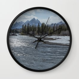 Shimmering Snake River and the Tetons Wall Clock