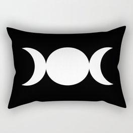 Triple Goddess Symbol – Divine Feminine – Maiden, Mother, Crone - White on Black Rectangular Pillow