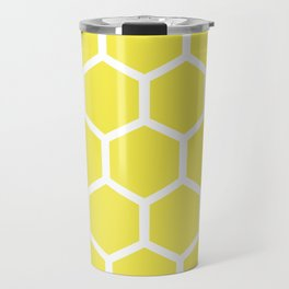 Honeycomb pattern - lemon yellow Travel Mug