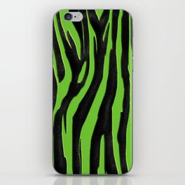 Bright Green & Black Zebra Print iPhone Skin