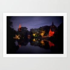 Brussels at night Art Print