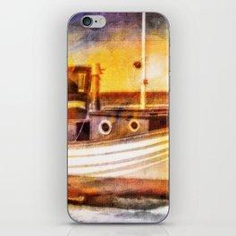 Boat Sunset Beach Painting iPhone Skin