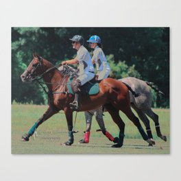 Cantering Polo Ponies Canvas Print