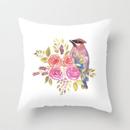 cedar waxwing with pink and orange roses and leaves Throw Pillow