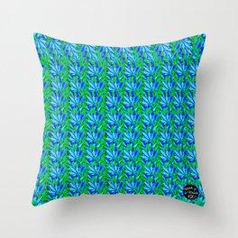 Cannabis Print Green and Blue Throw Pillow
