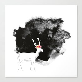 YOUNG DEER WITH FLOWER CROWN Canvas Print