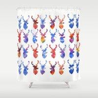reindeer Shower Curtains featuring Reindeer by Verismaya
