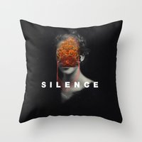 silence of the lambs Throw Pillows featuring Silence by Frank Moth