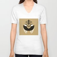 power rangers V-neck T-shirts featuring White Rangers Remix by hellostranger