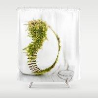 dragon ball Shower Curtains featuring Dragon Moss ball baseball by Surface Maximus