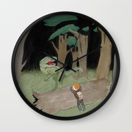 Raptor Trouble Colorized Wall Clock