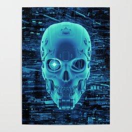 Gamer Skull BLUE TECH / 3D render of cyborg head Poster