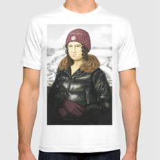 Mona Lisa in winter Mens Fitted Tee MEDIUM White