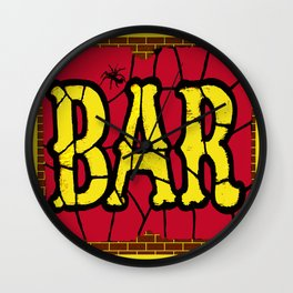 BAR AND SPIDERS VINTAGE SIGN Wall Clock